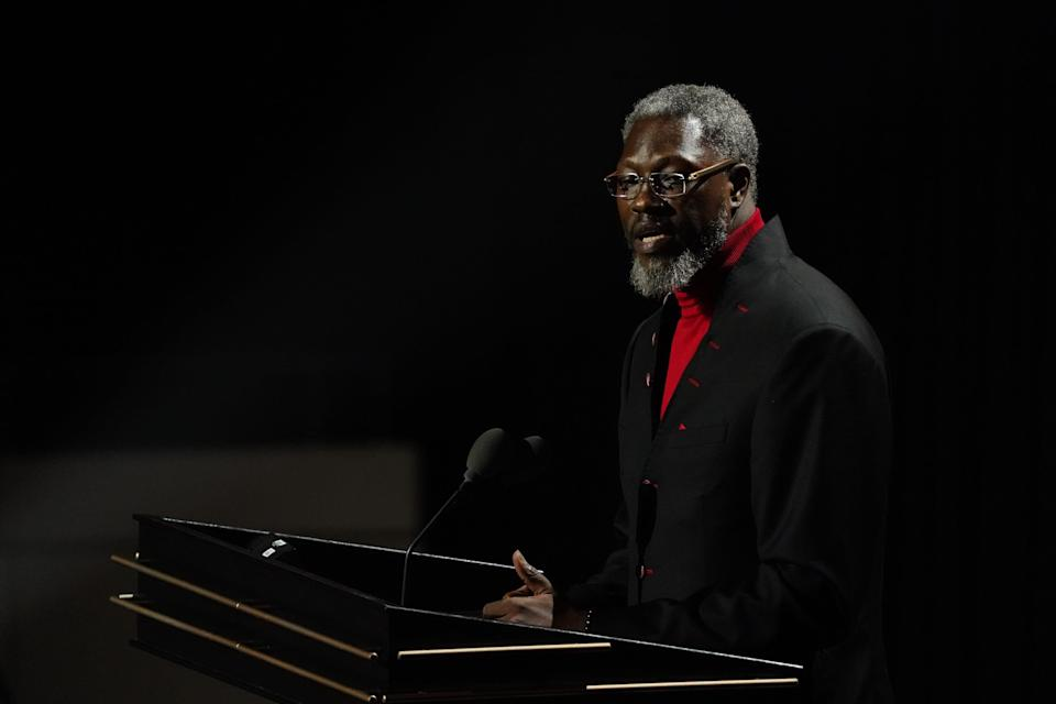 Class of 2021 inductee Ben Wallace speaks during the Naismith Memorial Basketball Hall of Fame Enshrinement at MassMutual Center in Springfield, Mass., Sept. 11, 2021.