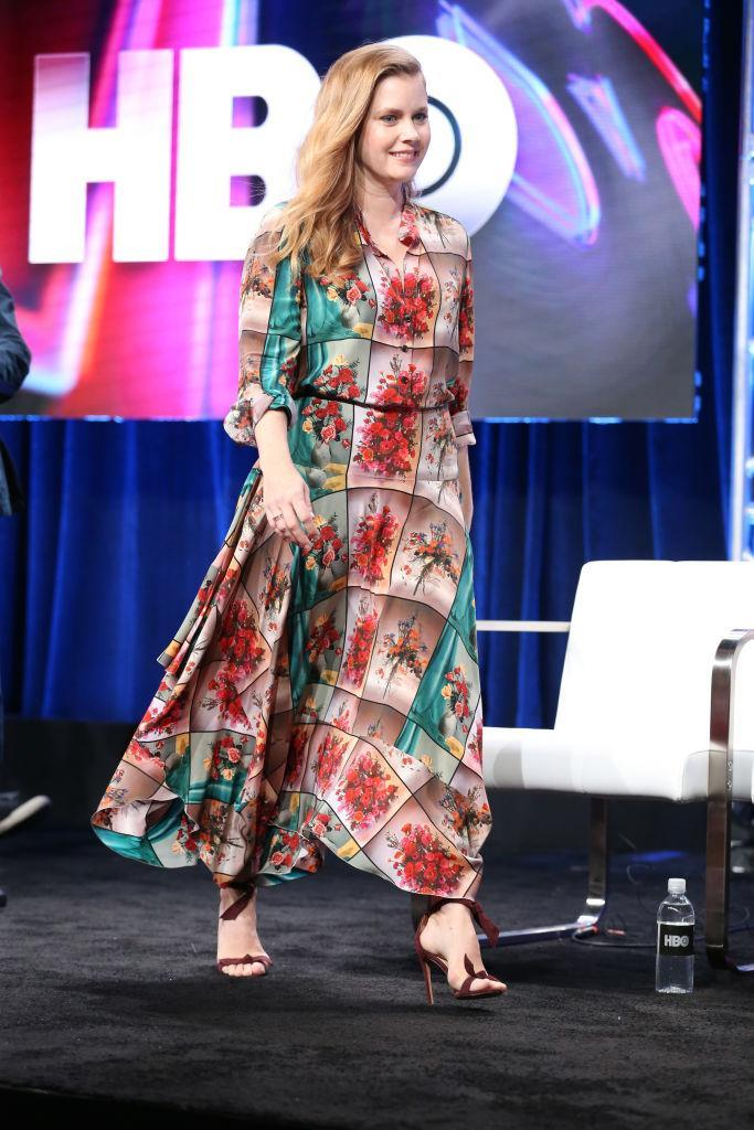 <p>On 25 July, Amy Adams wore a printed ankle-skimming Stella McCartney dress for a press tour in celebration of the actress' latest series, 'Sharp Objects' <em>[Photo: Getty]</em> </p>