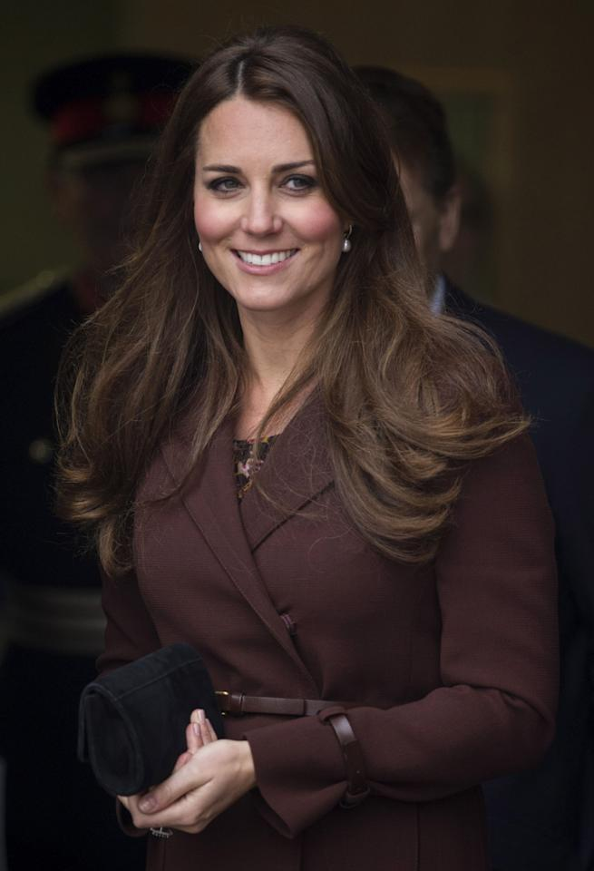 GRIMSBY, ENGLAND - MARCH 05:  Catherine, Duchess of Cambridge at Havelock Academy during her official visit on March 5, 2013 in Grimsby, England.  (Photo by Mark Cuthbert/UK Press via Getty Images)