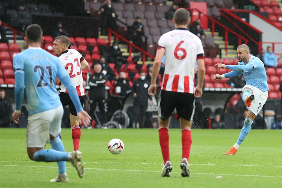 <p>Kyle Walker fires City in front at Bramall Lane</p> (Getty)