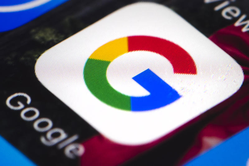 This Wednesday, April 26, 2017, photo shows the Google mobile phone icon, in Philadelphia. Alphabet Inc., parent company of Google, reports financial results, Thursday, April 27, 2017. (AP Photo/Matt Rourke)