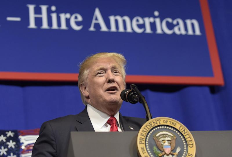President Donald Trump speaks at tool manufacturer Snap-on Inc. in Kenosha, Wisconsin: AP Photo/Susan Walsh