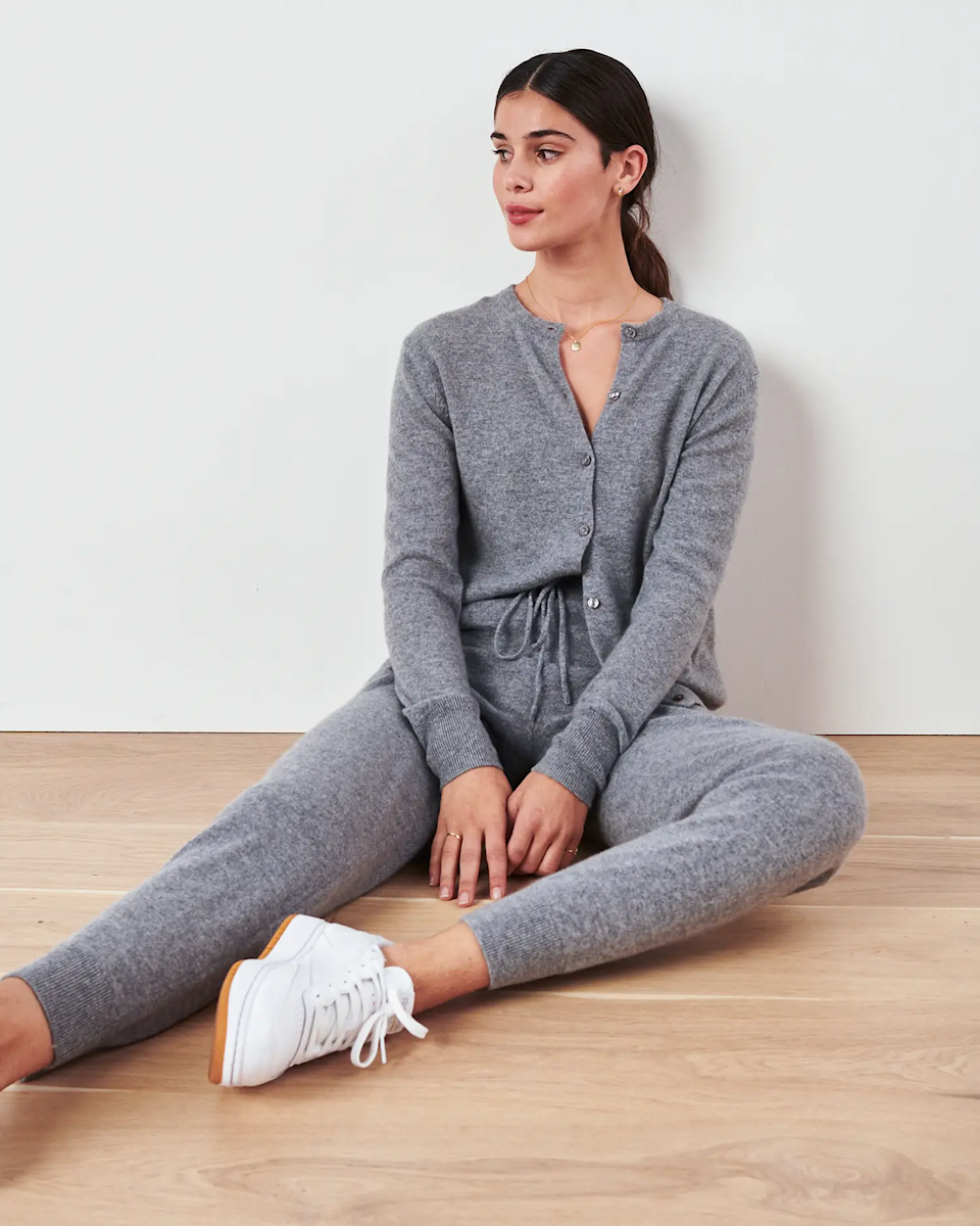 """<h2>Quince Mongolian Cashmere Cardigan & Sweatpants</h2><br>You can never go wrong with cashmere — and since we're talking luxury in this story, why not grab a head-to-toe set for your well-deserving mom?<br><br><strong>Quince</strong> Mongolian Cashmere Cardigan, $, available at <a href=""""https://go.skimresources.com/?id=30283X879131&url=https%3A%2F%2Fwww.onequince.com%2Fwomen%2Fcashmere%2Fcashmere-cardigan-sweater"""" rel=""""nofollow noopener"""" target=""""_blank"""" data-ylk=""""slk:Quince"""" class=""""link rapid-noclick-resp"""">Quince</a><br><br><strong>Quince</strong> Mongolian Cashmere Sweatpants, $, available at <a href=""""https://go.skimresources.com/?id=30283X879131&url=https%3A%2F%2Fwww.onequince.com%2Fwomen%2Fcashmere%2Fcashmere-sweatpants%3Fcolor%3Dheather-grey"""" rel=""""nofollow noopener"""" target=""""_blank"""" data-ylk=""""slk:Quince"""" class=""""link rapid-noclick-resp"""">Quince</a>"""