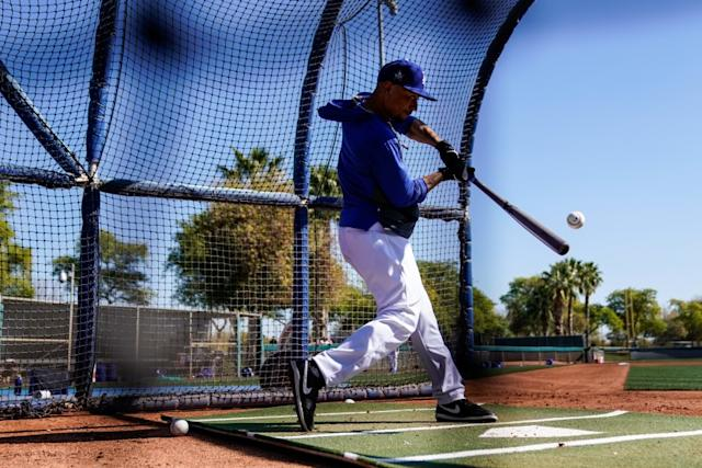 "Newcomer Mookie Betts takes batting practice during a Dodgers workout this spring before the coronavirus outbreak postponed the season. <span class=""copyright"">(Kent Nishimura/Los Angeles Times)</span>"