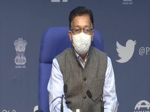 Health Secretary Rajesh Bhushan doing press conferance on COVID-19 situation on December 1 in Delhi. (Photo/ANI)