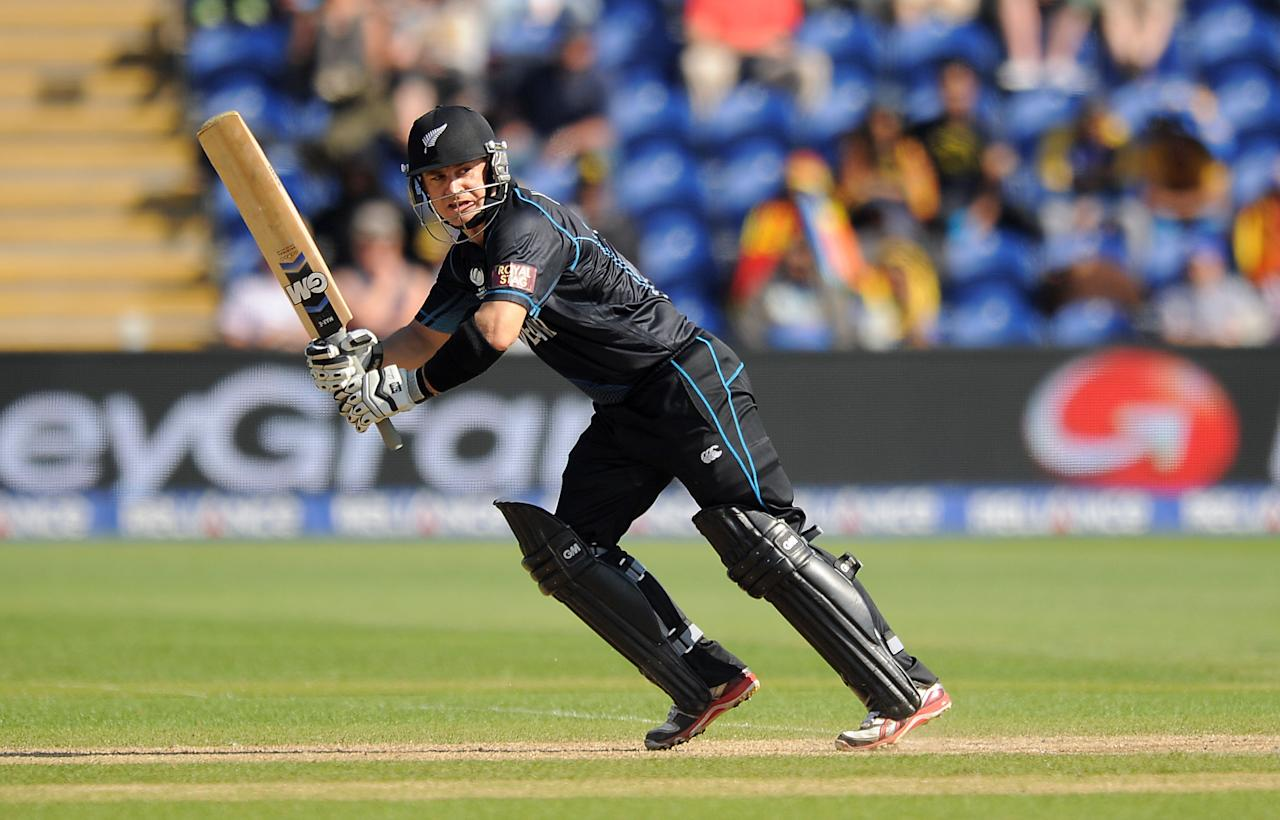 New Zealand's Nathan McCullum bats during the ICC Champions Trophy match at the SWALEC Stadium, Cardiff.