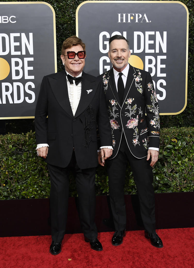 David Furnish and Elton John at the 2020 Golden Globe Awards