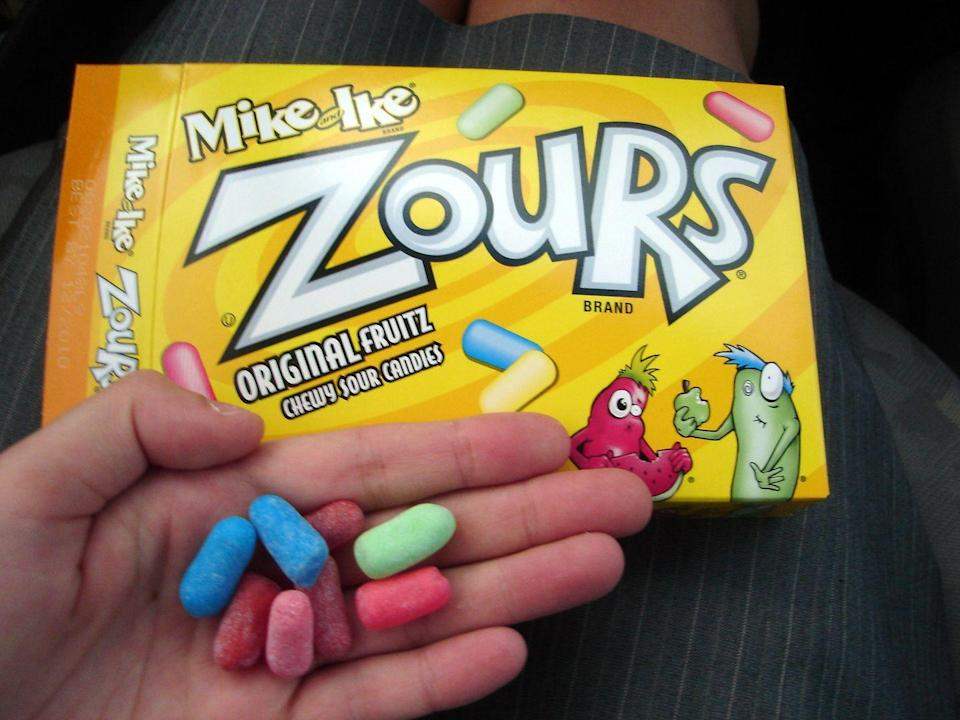 <p>Mike and Ike got a jolt of excitement in the late '90s when they were given a sour outer coating. These chewy candies make us pucker up and slow down to enjoy every bite. Just see if you can make them last until the credits roll.</p>
