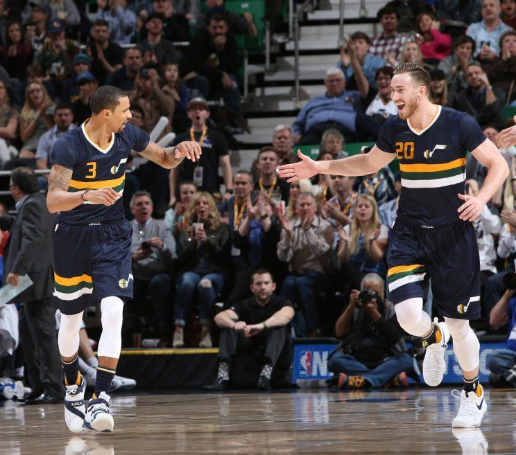 The free-agent fates of George Hill and Gordon Hayward seem to be intertwined. (Getty Images)