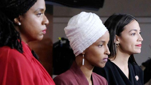 PHOTO: Reps. Ayanna Pressley, Ilhan Omar, and Alexandria Ocasio-Cortez attend a news conference at the U.S. Capitol, July 15, 2019. (Alex Wroblewski/Getty Images, FILE)