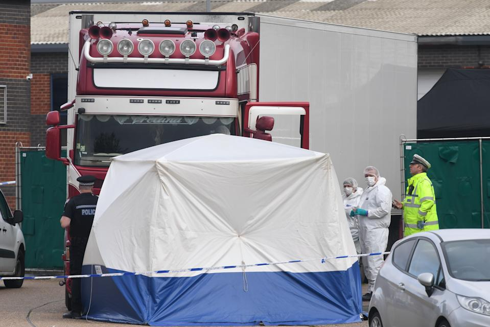 """Embargoed to 0001 Monday November 04 File photo dated 23/10/2019 of police activity at the Waterglade Industrial Park in Grays, Essex, after 39 bodies were found inside a lorry on the industrial estate. The """"tragic"""" deaths of 39 people found in the back of a lorry in Essex should be """"wake up call for the Government"""" to rethink its approach to illegal migration, MPs have said."""
