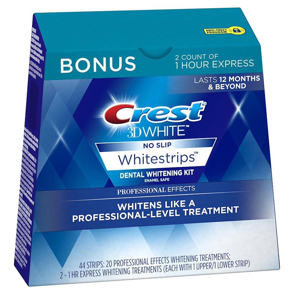 """<h3>Crest 3D White Professional Effects Whitestrips</h3><br>You can't put a price on a smile — unless, it's on sale and next-day shopping eligible on Amazon prime. This Crest makes your pearly whites, well whiter, with professional-level stain removal in under an hour's time. This simply works.<br><br><strong>4.5 out of 5 stars and 27,229 reviews</strong><br><br><strong>Crest</strong> 3D White Professional Effects Whitestrips, $, available at <a href=""""https://amzn.to/3jXZLTO"""" rel=""""nofollow noopener"""" target=""""_blank"""" data-ylk=""""slk:Amazon"""" class=""""link rapid-noclick-resp"""">Amazon</a>"""