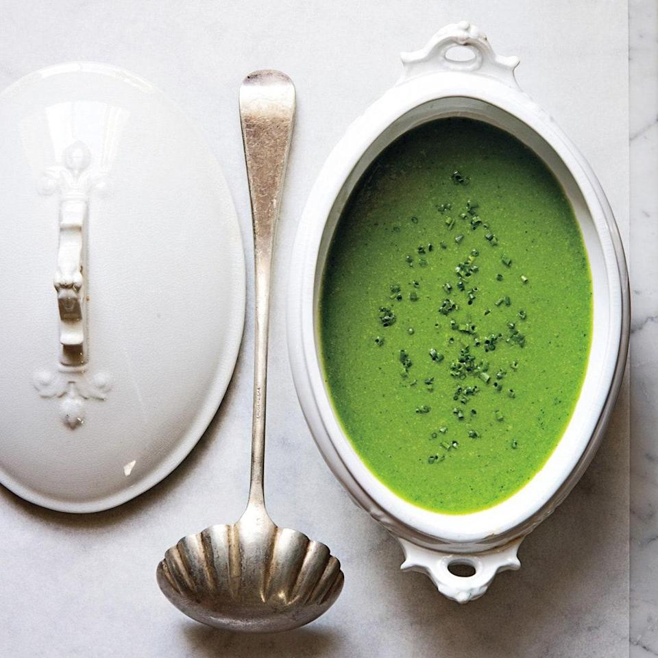 """This is a far cry from army-green split pea soup. Cooking the peas briefly retains their vibrant color, and the addition of fresh herbs keeps the finished soup looking and tasting bright. Delicious warm or chilled, it's a springtime staple. <a href=""""https://www.epicurious.com/recipes/food/views/minty-pea-soup-51154900?mbid=synd_yahoo_rss"""" rel=""""nofollow noopener"""" target=""""_blank"""" data-ylk=""""slk:See recipe."""" class=""""link rapid-noclick-resp"""">See recipe.</a>"""