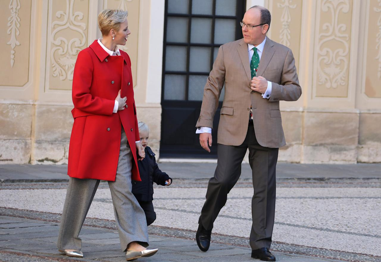 Prince Albert II of Monaco, his wife Princess Charlene and their son Prince Jacques attend the traditional Christmas tree ceremony at the Monaco Palace as part of Christmas holiday season in Monaco December 14, 2016. REUTERS/Eric Gaillard