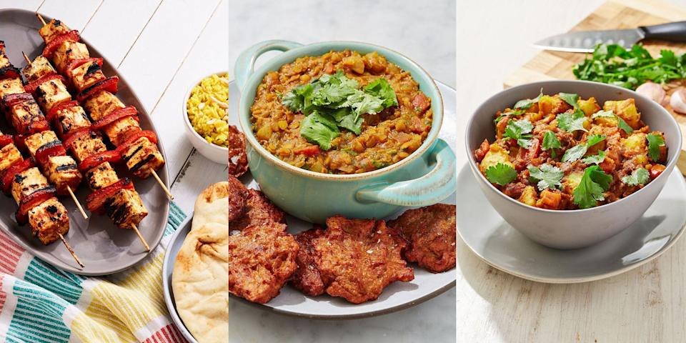 """<p>Curry night is by far one of our favourite nights, EVER. But, it shouldn't go ahead with a variety of delicious-tasting, easy Indian side dishes (obvs). Once you've decided on the kind of <a href=""""https://www.delish.com/uk/cooking/recipes/g33455599/best-curry-recipes/"""" rel=""""nofollow noopener"""" target=""""_blank"""" data-ylk=""""slk:curry"""" class=""""link rapid-noclick-resp"""">curry</a> you fancy, it's worth exploring your options when it comes to the sides. Is it a basket full of <a href=""""https://www.delish.com/uk/cooking/recipes/a31188763/onion-bhajis/"""" rel=""""nofollow noopener"""" target=""""_blank"""" data-ylk=""""slk:Onion Bhajis"""" class=""""link rapid-noclick-resp"""">Onion Bhajis</a> you crave? Or a dozen <a href=""""https://www.delish.com/uk/cooking/recipes/a29455921/naan-bread/"""" rel=""""nofollow noopener"""" target=""""_blank"""" data-ylk=""""slk:Naan Breads"""" class=""""link rapid-noclick-resp"""">Naan Breads</a> all at once? Or even a few bowls of <a href=""""https://www.delish.com/uk/cooking/recipes/a31183852/tarka-daal/"""" rel=""""nofollow noopener"""" target=""""_blank"""" data-ylk=""""slk:Tarka Daal"""" class=""""link rapid-noclick-resp"""">Tarka Daal</a>? Whatever it is, you're bound to cook up an Indian feast that's worth all the effort. </p>"""