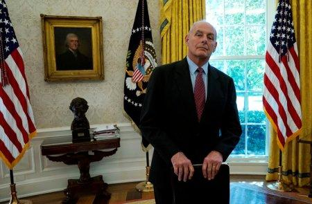 FILE PHOTO - White House Chief of Staff John Kelly stands close by as U.S. President Donald Trump meets with former U.S. Secretary of State Henry Kissinger in the Oval Office of the White House in Washington, U.S., October 10, 2017. REUTERS/Kevin Lamarque