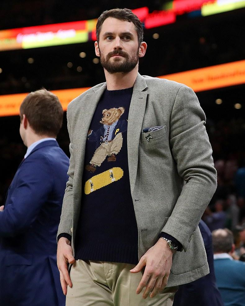 Kevin Love in the grail-level Ralph Lauren x Palace heelflip bear sweater.