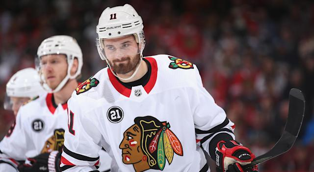 After being scratched for seven of Chicago's first eight games this season, Brendan Perlini requested a trade at the end of last week. (Photo by Christian Petersen/Getty Images)