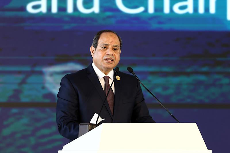 ASWAN, Dec. 11, 2019 -- Egyptian President Abdel Fattah al-Sisi addresses the Aswan Forum for Sustainable Peace and Development in Aswan, Egypt, Dec. 11, 2019. Aswan Forum for Sustainable Peace and Development kicked off on Wednesday in the upper Egyptian city of Aswan. The two-day Aswan forum will focus on post-conflict reconstruction, education, climate change and sustainable development in Africa. (Photo by Ahmed Gomaa/Xinhua via Getty) (Xinhua/ via Getty Images)