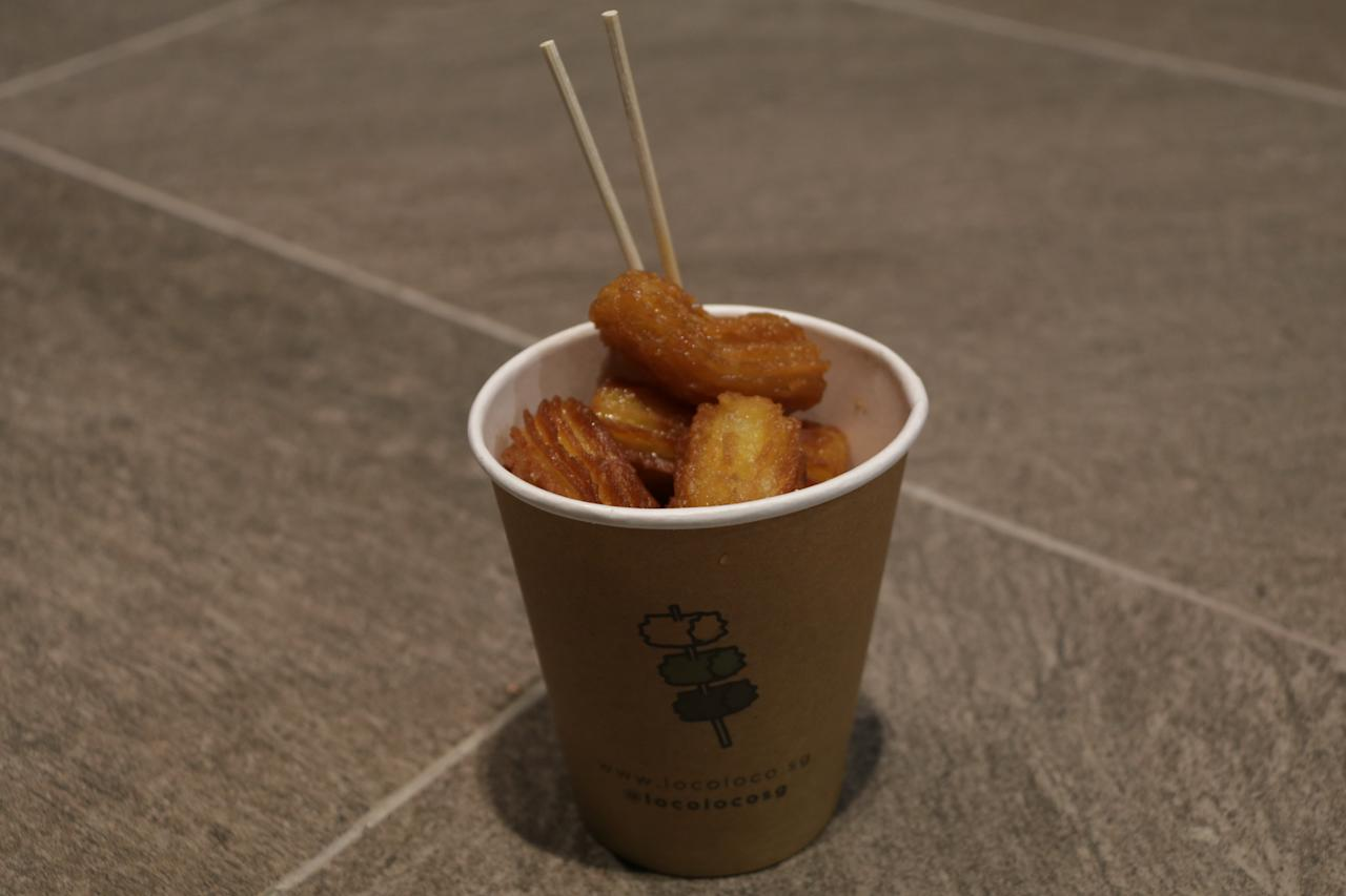 <p>D24 durian with original churros from Loco Loco, stalls 11 and 12; $6. (PHOTO: Abdul Rahman Azhari/Yahoo Lifestyle Singapore) </p>