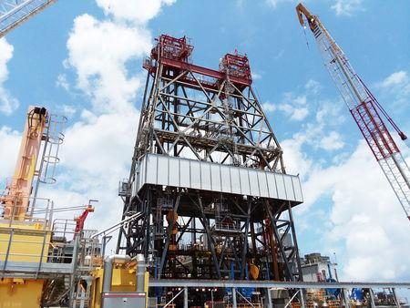 A massive drilling derrick is pictured on BP's Thunder Horse Oil Platform in the Gulf of Mexico