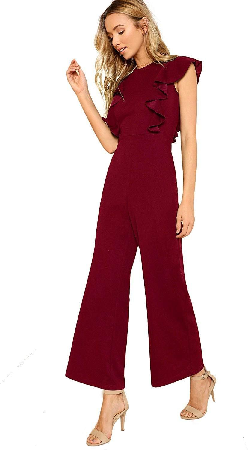 """<p>This <a href=""""https://www.popsugar.com/buy/Romwe-Ruffle-Trim-Jumpsuit-512877?p_name=Romwe%20Ruffle-Trim%20Jumpsuit&retailer=amazon.com&pid=512877&price=36&evar1=fab%3Aus&evar9=46859993&evar98=https%3A%2F%2Fwww.popsugar.com%2Ffashion%2Fphoto-gallery%2F46859993%2Fimage%2F46860956%2FRomwe-Ruffle-Trim-Jumpsuit&list1=shopping%2Camazon%2Choliday%2Cwinter%20fashion%2Choliday%20fashion%2C50%20under%20%2450%2Cgifts%20for%20women%2Caffordable%20shopping&prop13=mobile&pdata=1"""" rel=""""nofollow noopener"""" class=""""link rapid-noclick-resp"""" target=""""_blank"""" data-ylk=""""slk:Romwe Ruffle-Trim Jumpsuit"""">Romwe Ruffle-Trim Jumpsuit</a> ($36) is a fun dress alternative.</p>"""