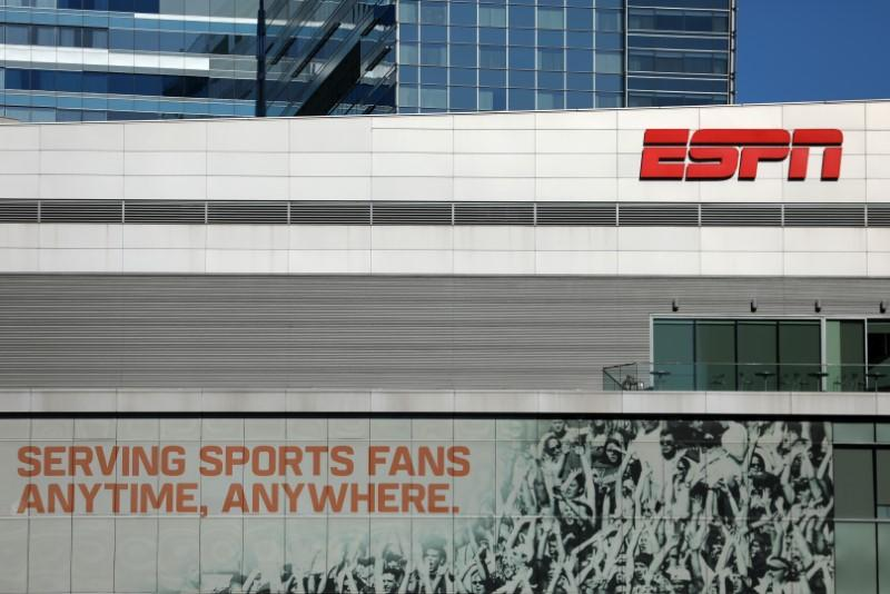 ESPN logo and building are shown in down town Los Angeles, California,