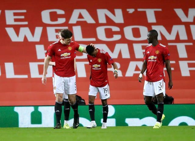 Amad Diallo (centre) headed Manchester United in front at Old Trafford