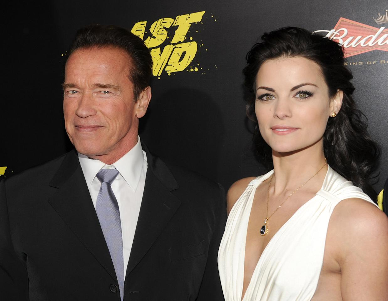 "HOLLYWOOD, CA - JANUARY 14: Actors Arnold Schwarzenegger (L) and Jaimie Alexander arrive at the premiere of Lionsgate Films' ""The Last Stand"" at Grauman's Chinese Theatre on January 14, 2013 in Hollywood, California.  (Photo by Kevin Winter/Getty Images)"