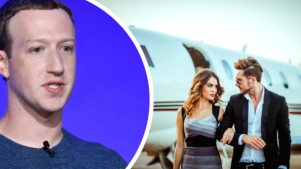 Pictured: Facebook founder Mark Zuckerberg, billionaires exit private jet. Images: Getty