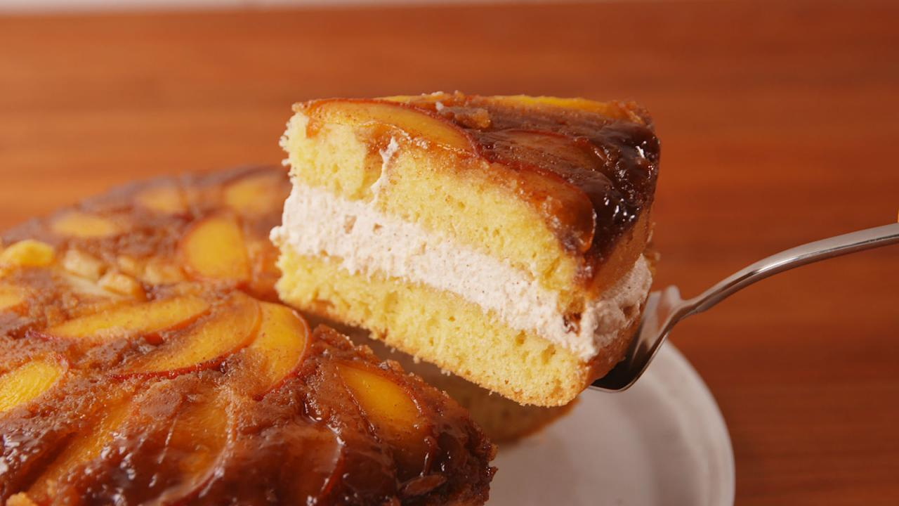 """<p><span>You'll wanna eat this creamy, fluffy cake all </span> day<span> summer.</span></p><p><span>Get the recipe from <a rel=""""nofollow"""" href=""""http://www.delish.com/cooking/recipe-ideas/recipes/a53728/peaches-n-cream-upside-down-cake-recipe/"""">Delish</a>.</span></p>"""