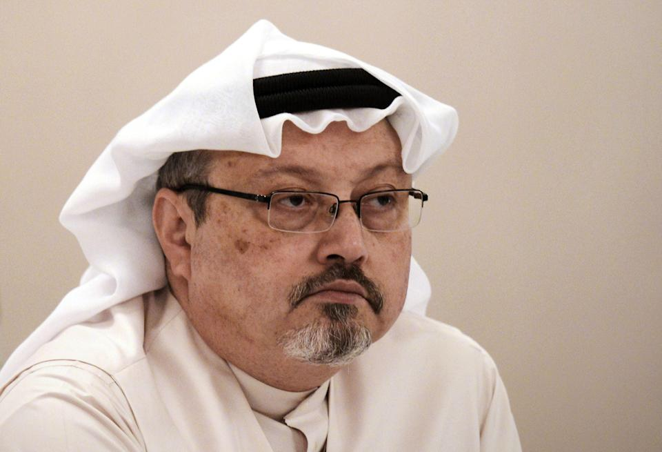 (FILES) In this file photo taken on December 15, 2014 (FILES) In this file photo taken on December 15, 2014 Saudi journalist Jamal Khashoggi attends a press conference in the Bahraini capital Manama. - The US director of national intelligence is expected to release a damning report today on February 26, 2021 that fingers Saudi Crown Prince Mohammed bin Salman for the brutal murder and dismemberment of dissident journalist Jamal Khashoggi in October 2018. (Photo by MOHAMMED AL-SHAIKH / AFP) (Photo by MOHAMMED AL-SHAIKH/AFP via Getty Images) (AFP via Getty Images)