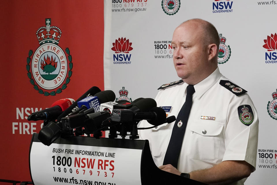 SYDNEY, AUSTRALIA - JANUARY 27: Shane Fitzsimmons, Commissioner of the New South Wales Rural Fire Service  speaks during a press conference at the NSW Rural Fire Service Headquarters, Sydney Olympic Park on January 27, 2020 in Sydney, Australia. Three American firefighters died after their C-130 water tanker plane crashed while battling a bushfire near Cooma in southern NSW on Thursday 23 January. The men have been identified as First Officer Paul Hudson, flight engineer Rick DeMorgan Jnr and Captain Ian McBeth. The repurposed C-130 Hercules, built in America by Lockheed Martin and owned by arial firefighting company Coulson Aviation, took off from Richmond RAAF base and lost contact with firefighting command just after it made an approach towards a fire in the Snowy Monaro region. The Australian Transport Safety Bureau (ATSB) is working to find the cause of the crash. (Photo by Jenny Evans/Getty Images)