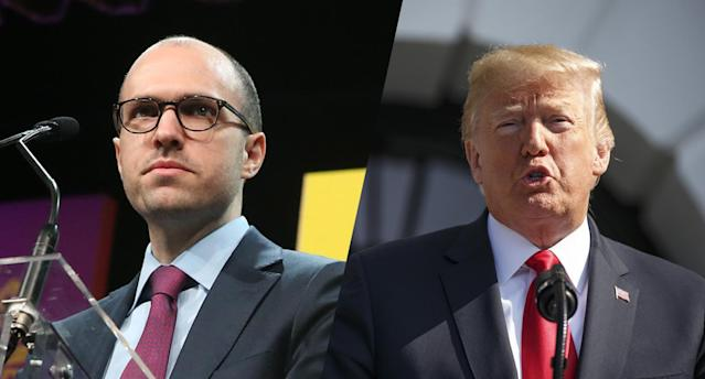 A.G. Sulzberger and President Trump (Photos: Rob Kim/Getty Images, Joshua Roberts/Bloomberg via Getty Images)