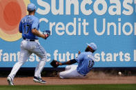 Tampa Bay Rays outfielders Manuel Margot (13) and Austin Meadows (17) chase a ball hit for a triple by Minnesota Twins' Byron Buxton in the fourth inning of a spring training baseball game Wednesday, March 24, 2021, in Port Charlotte, Fla. (AP Photo/John Bazemore)