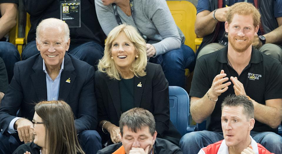 TORONTO, ON - SEPTEMBER 30:  Joe Biden, Jill Biden and Prince Harry attend the wheelchair basketball final on day 8 of the Invictus Games Toronto 2017 on September 30, 2017 in Toronto, Canada.  The Games use the power of sport to inspire recovery, support rehabilitation and generate a wider understanding and respect for the Armed Forces.  (Photo by Samir Hussein/Samir Hussein/WireImage)