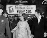 <p>Elliot Gould and Barbra Streisand arrive at the premiere of her film, <em>Funny Girl</em>, in 1968.</p>