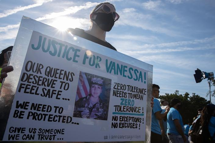 Supporter of murdered U.S. Army Private First Class Vanessa Guillen is seen during a rally on the National Mall to call for justice and for Congress to investigate her death. Washington, D.C. July 30, 2020. (Photo by Aurora Samperio/NurPhoto via Getty Images)