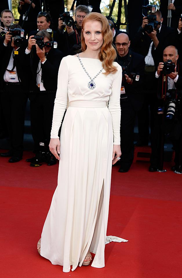 CANNES, FRANCE - MAY 21:  Jessica Chastain attends the 'Cleopatra' premiere during The 66th Annual Cannes Film Festival at The 60th Anniversary Theatre on May 21, 2013 in Cannes, France.  (Photo by Pascal Le Segretain/Getty Images)