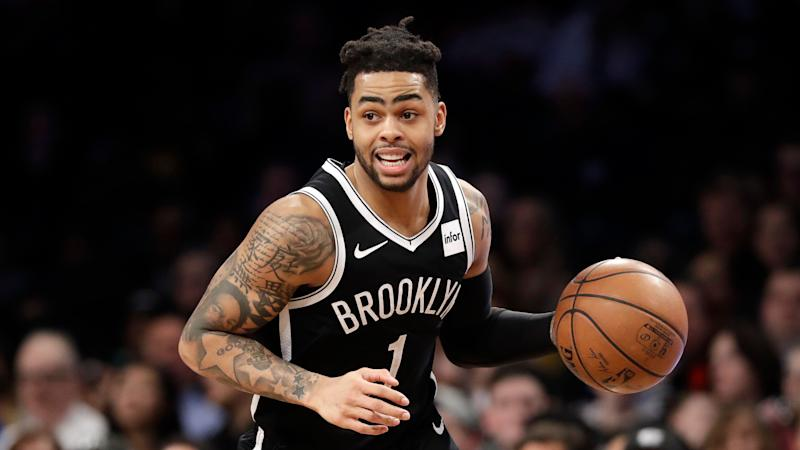 Brooklyn Nets guard D'Angelo Russell (1) drives down court during the second half of an NBA basketball game, Wednesday, Feb. 27, 2019, in New York. The Wizards defeated the Nets 125-116. (AP Photo/Kathy Willens)