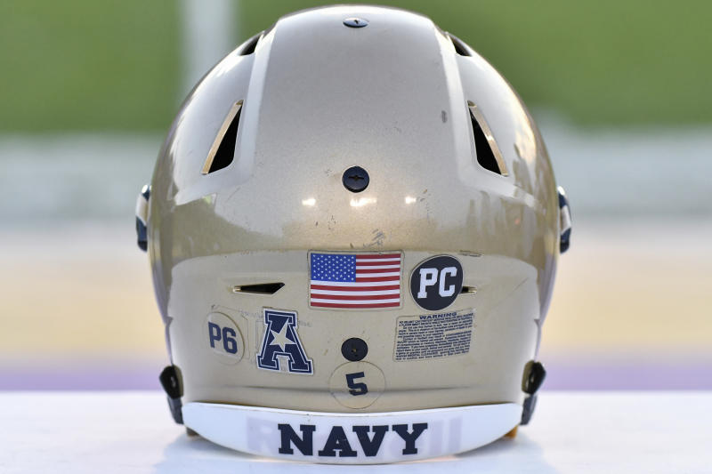 GREENVILLE, NC - November 19: Navy Midshipmen helmet sits on the sidelines during an NCAA football game between the East Carolina Pirates and the Navy Midshipmen on November 19, 2016 at Dowdy-Ficklen Stadium in Greenville, NC. Navy defeated ECU 66-31. (Photo by Greg Thompson/Icon Sportswire via Getty Images)