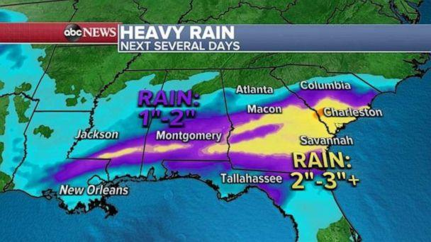 PHOTO: The heaviest rain shifted closer to the Gulf Coast from Mississippi to Alabama, Georgia and South Carolina where over the next few days 2 to 3 inches of rain is expected with locally higher amounts possible.   (ABC News)