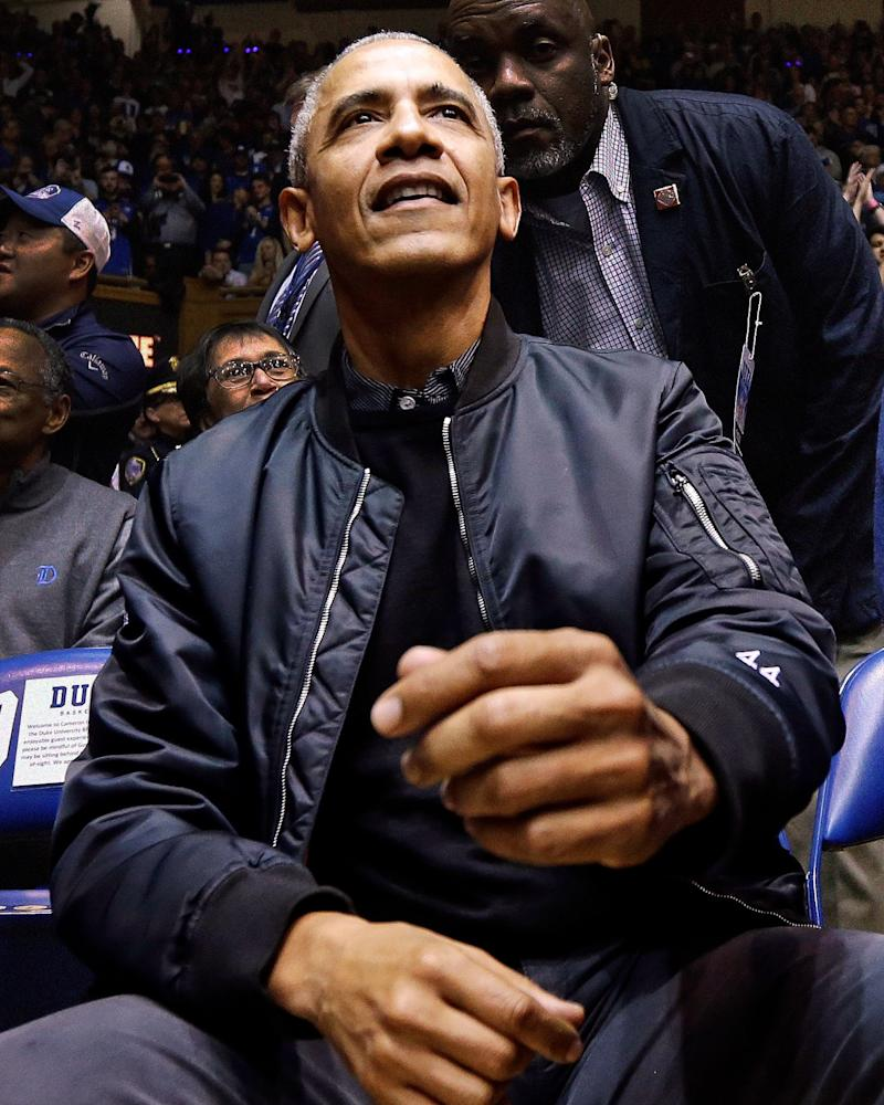 "Barack Obama hit the Duke-UNC game wearing a true grail: a ""44""-embroidered bomber jacket."