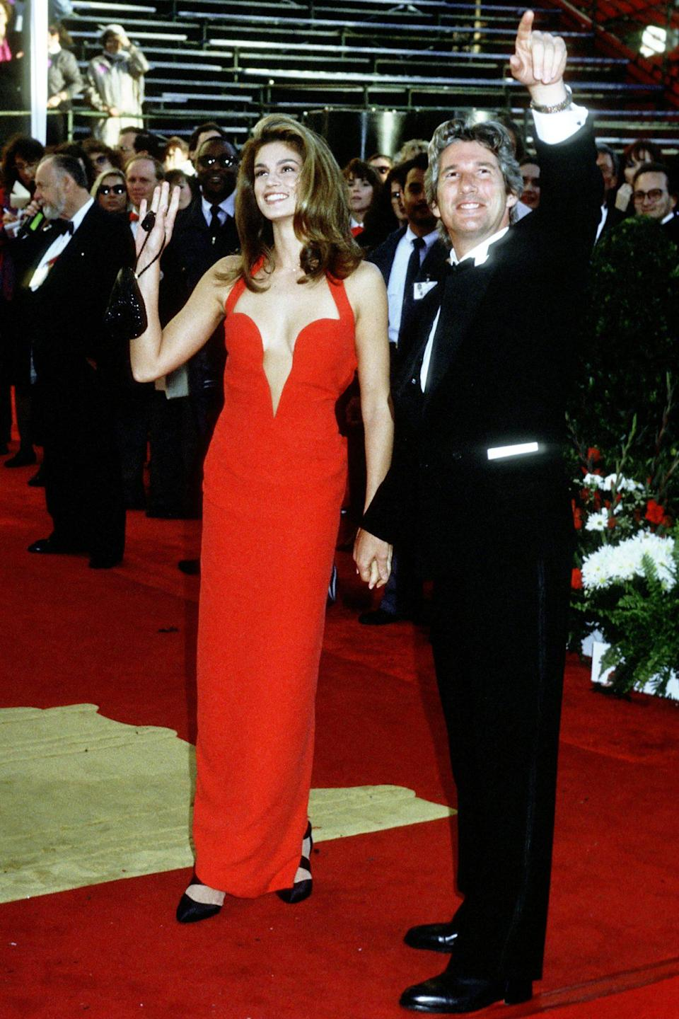 <p>In Los Angeles with then-boyfriend Richard Gere at the 63rd Academy Awards in 1991.</p>