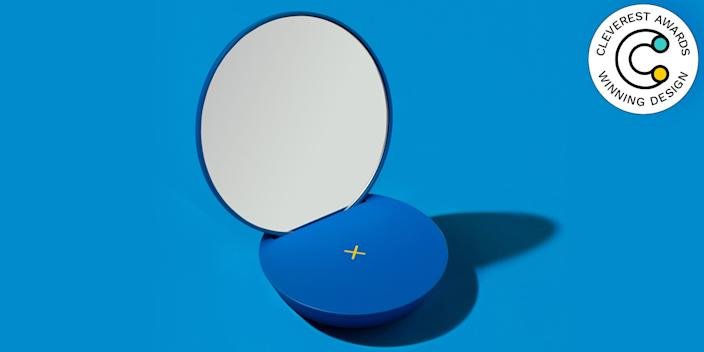 Multiply Wireless Charger and Table Mirror by Ato Design Studio Ato Design Studio thought about where you're always near your phone—at your desk, in bed, in the bathroom while you're zhuzhing yourself up—and put two and two together. Now you can charge your phone and check yourself out at the same time. We love how the primary-colored base can be paired with different-shaped mirrors (a triangle, a circle, or a rectangle). atodesignstudio.com