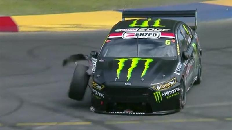 Waters was filthy after banging up the brand new car. Pic: Fox Sports
