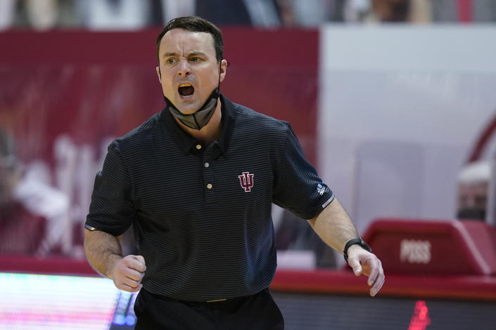 Indiana head coach Archie Miller shouts during the second half of an NCAA college basketball game against Michigan State, Saturday, Feb. 20, 2021, in Bloomington, Ind. Michigan State won 78-71. (AP Photo/Darron Cummings)