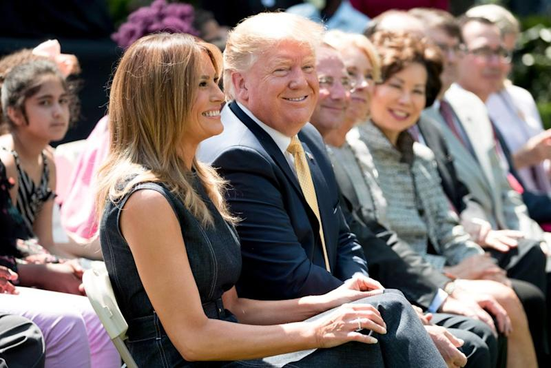 The Trumps celebrating the anniversary of the first lady's