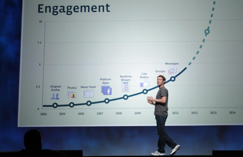Facebook CEO Mark Zuckerberg stands in front of a slide boasting about user engagement during his address at the company's 2011 developers conference.