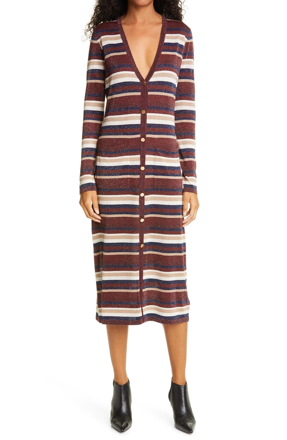 <p>The <span>L'Agence V-Neck Stripe Long Sleeve Midi Sweater Dress</span> ($140, originally $350) is made to be worn all day every day!</p>